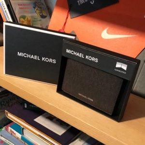 MICHAEL KORS-men's brown 'Jet Set' Wallet NWT